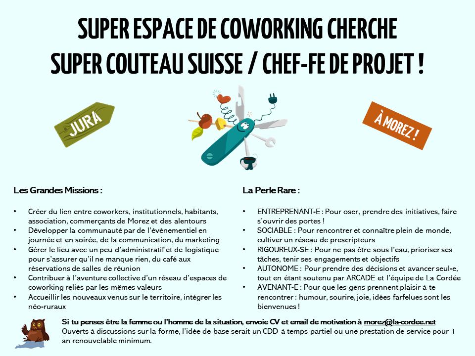 coworking Jura offre emploi